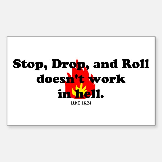 Stop Drop and Roll Rectangle Decal