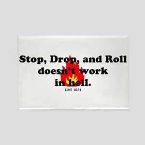 Stop Drop and Roll Rectangle Magnet