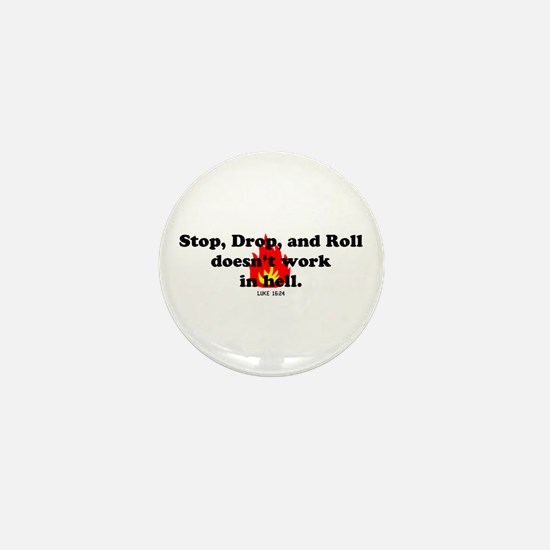 Stop Drop and Roll Mini Button