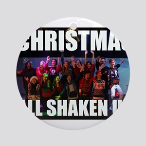 CHRISTMAS ALL SHAKEN UP CAST PHOTO Round Ornament