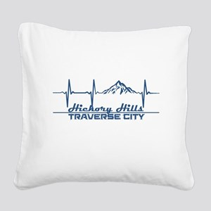 Hickory Hills Ski Area - Tr Square Canvas Pillow