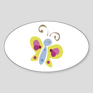 Pretty Butterfly Oval Sticker