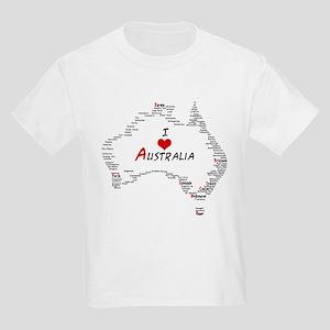 I Love Australia Map with Heart Kids Light T-Shirt