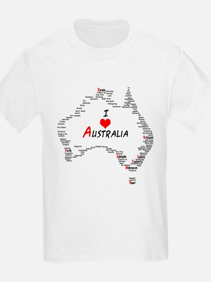 I Love Australia Map with Heart T-Shirt