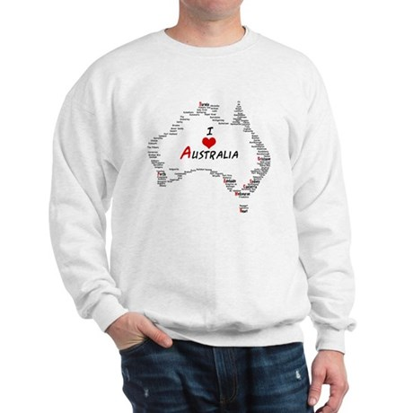I Love Australia Map with Heart Sweatshirt