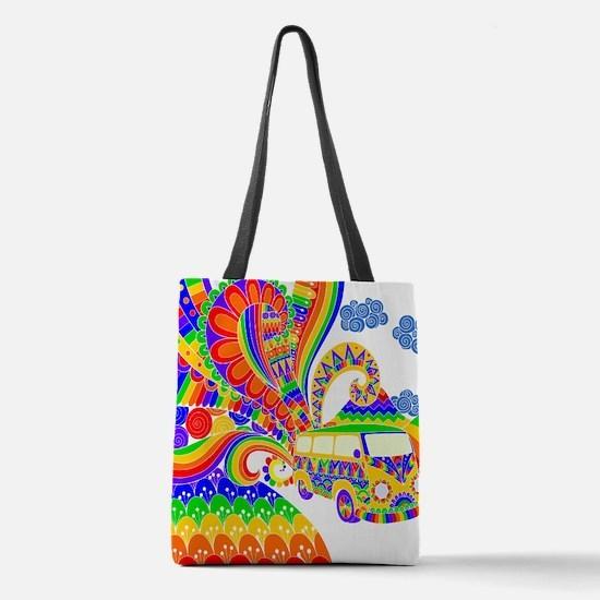 Retro Rainbow Hippie Van Polyester Tote Bag