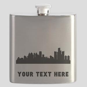 Detroit Cityscape Skyline (Custom) Flask