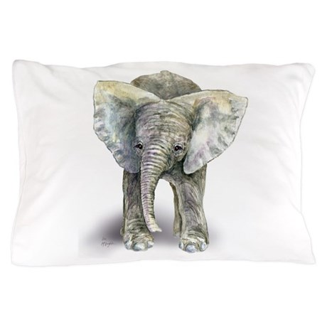 Baby Elephant Pillow Case By Mclaughlinwatercolor