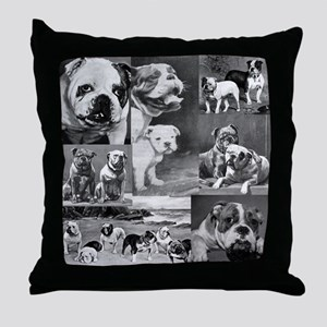 Vintage Bulldog Collage Throw Pillow