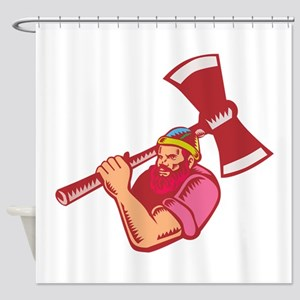 Lumberjack Axe Woodcut Shower Curtain