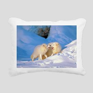Arctic Foxes Rectangular Canvas Pillow