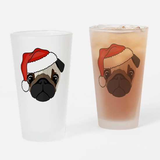 Cool Santa pug Drinking Glass