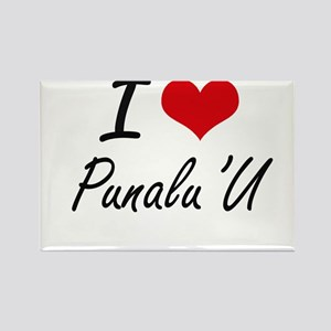 I love Punalu'U Hawaii artistic design Magnets