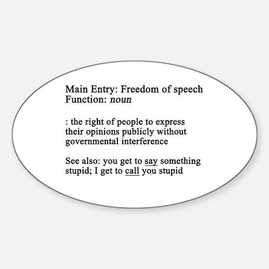 Free Speech Defined Oval Decal