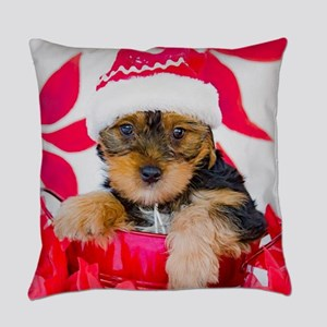 Yorkie Puppy in Santa Hat with Poi Everyday Pillow
