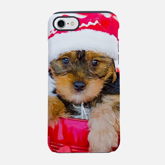 Yorkie Puppy in Santa Hat wi iPhone 8/7 Tough Case