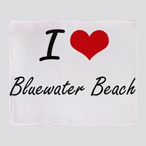 I love Bluewater Beach Florida arti Throw Blanket
