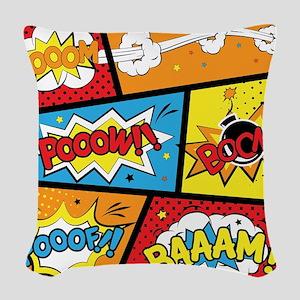 Comic Effects Woven Throw Pillow
