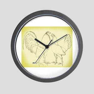 Canvas Rooster and Hen Wall Clock