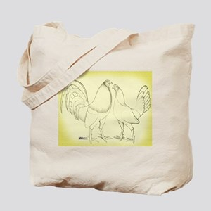 Canvas Rooster and Hen Tote Bag