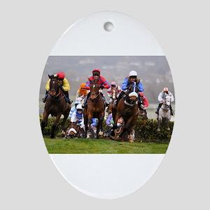 racing horses Oval Ornament