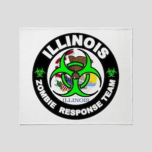 Illinois Zombie Response Tea Green Throw Blanket