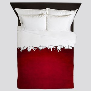 Sleeping Cats - red Queen Duvet