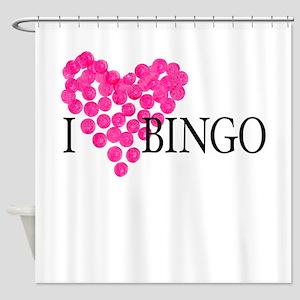 I heart bingo Shower Curtain