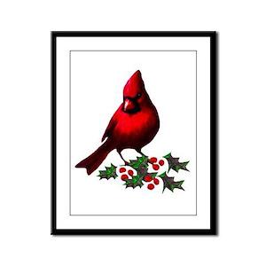 Christmas Cardinal Framed Panel Print