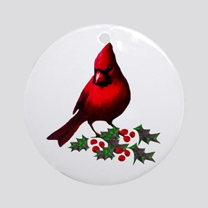 Christmas Cardinal Round Ornament