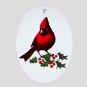 Christmas Cardinal Oval Ornament