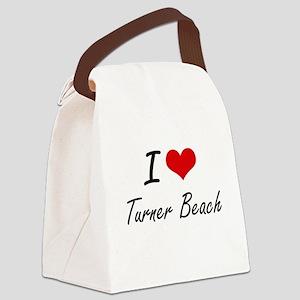 I love Turner Beach Florida arti Canvas Lunch Bag