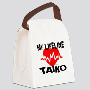 My Life Line Taiko Music Canvas Lunch Bag