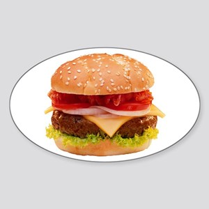 yummy cheeseburger photo Sticker (Oval)