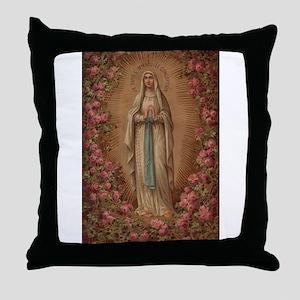 Our Lady Of Lourdes Throw Pillow