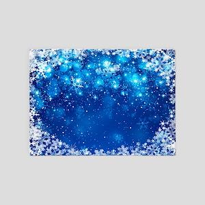 Snowflakes (Blue) 5'x7'Area Rug