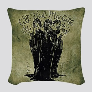 Witches All Hail Macbeth Woven Throw Pillow