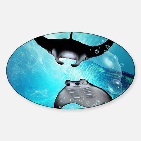 Awesome swimming manta Decal