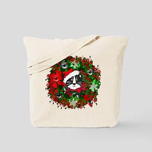 Cat In Christmas Wreath Tote Bag