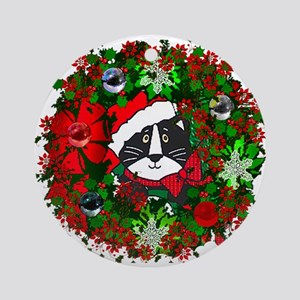 Cat In Christmas Wreath Round Ornament