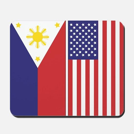 Philippine Flag & US Flag v2 Mousepad