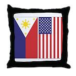 Philippine Flag & US Flag Throw Pillow