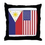 Philippine Flag & US Flag Throw Pillow