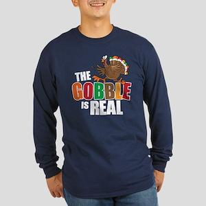 Gobble Is Real Long Sleeve Dark T-Shirt