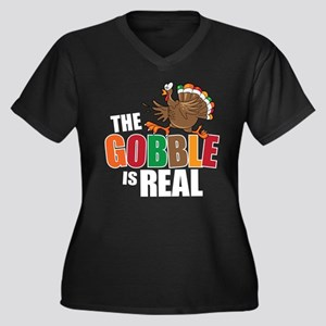 Gobble Is Re Women's Plus Size V-Neck Dark T-Shirt