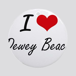 I love Dewey Beach Delaware artist Round Ornament