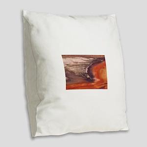 purple and orange tones Burlap Throw Pillow