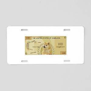 Dogecoin 100 Doge Bill Aluminum License Plate