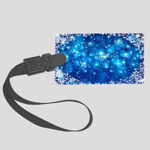 Snowflakes (Blue) Large Luggage Tag