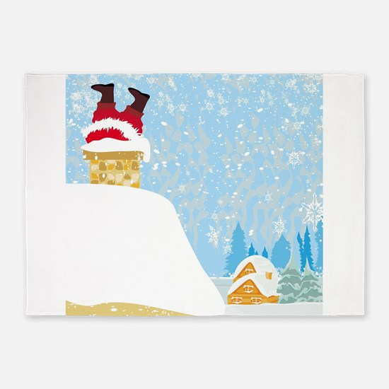 santa stuck in chimney 5'x7'Area Rug
